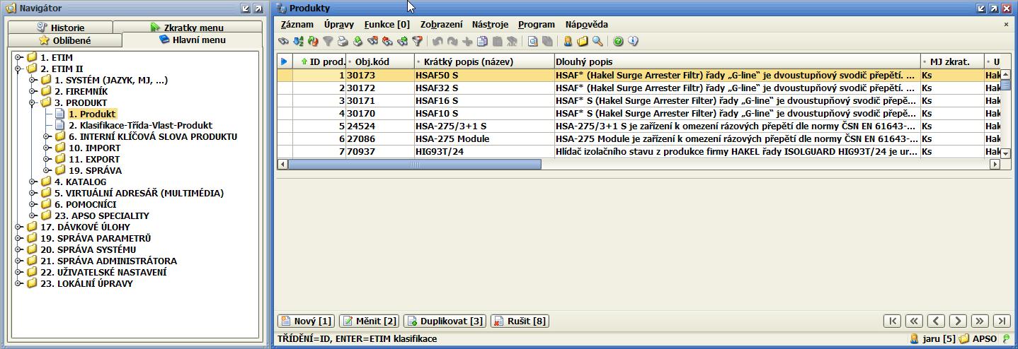 ApSo Desktop - modul ZaP pro ETIM